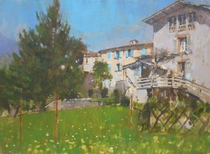 Blue Shutters, View from the Artist's Garden, St Lizier