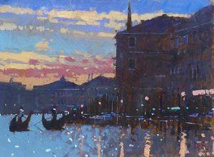 Two Gondolas, Sunset, Venice