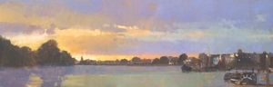 Sunset, Towards Barnes, from Hammersmith Bridge