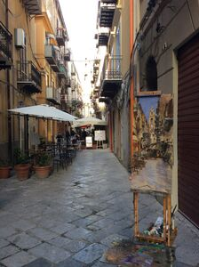 Painting in Palermo - Easel and painting
