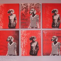 Funky Red Dog Girls set of six