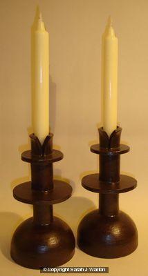 Black stoneware candlesticks