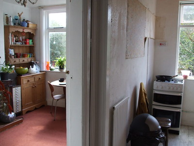Kitchen BEFORE - with wall still in place
