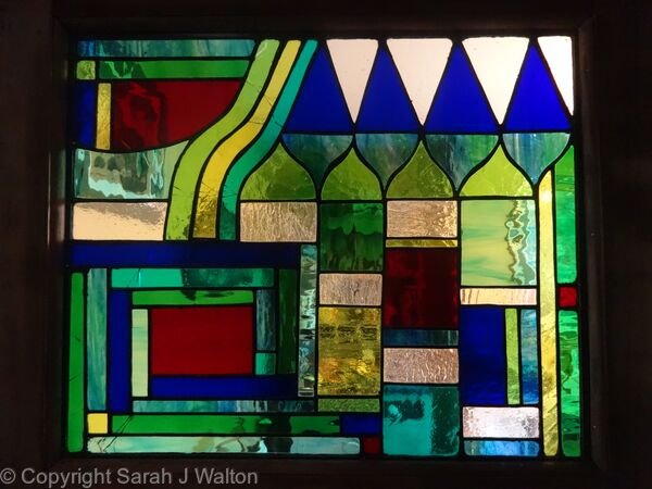 Tiffany glass interior door panel