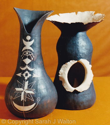 Decorated vase and exploded vessel