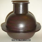 Black stoneware pot with single fin.