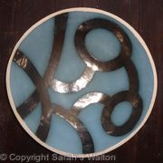 Large teal 'Kissing birds' bowl