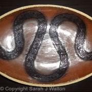 Metallic red 'snake' dish