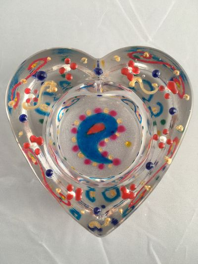 Heart of Glass blue red pink