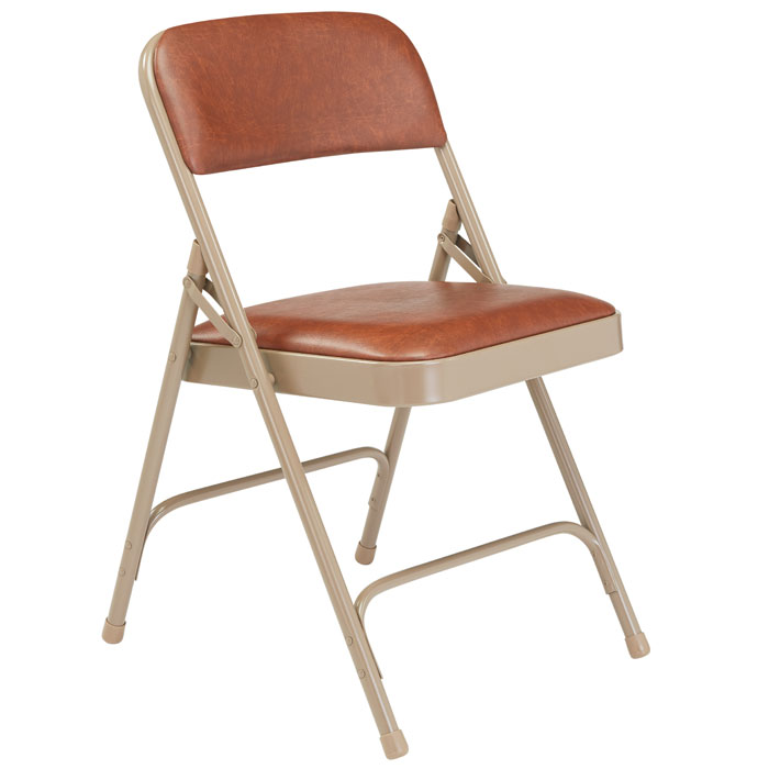Padded Folding Chair ( Brown Vinyl / Beige Frame ) By National Public  Seating, 1203   Stock #96049