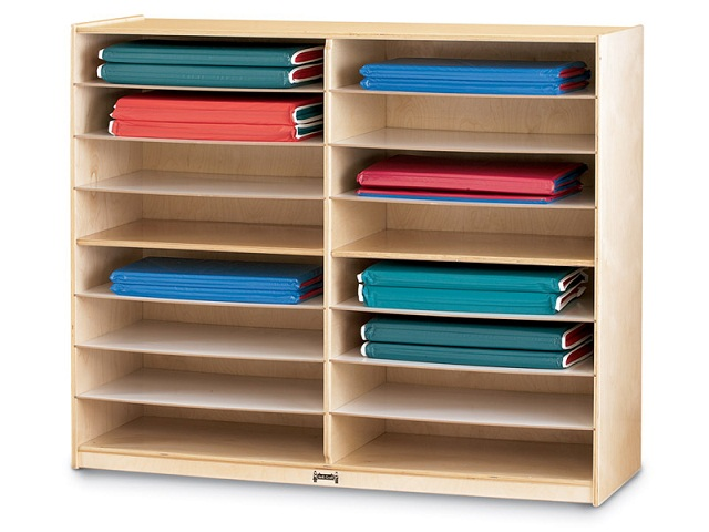 Modular Classroom Yoga ~ Jonti craft mat storage shelves jc