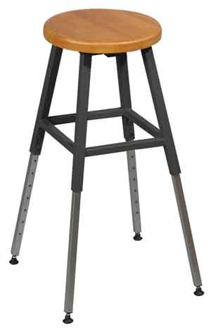 Genial 34441r Adjustable Height Lab Stool Black Frame