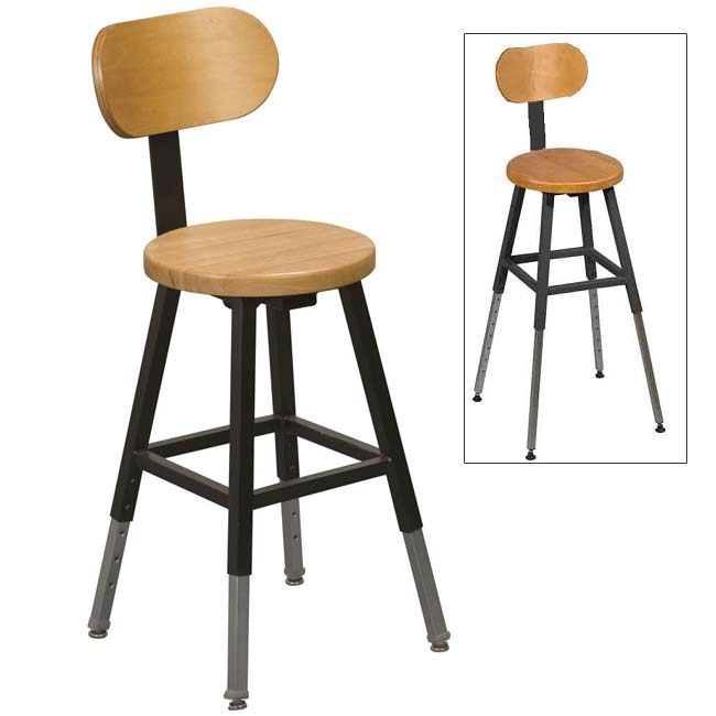 Balt Adjustable Height Lab Stool W Back Black Frame