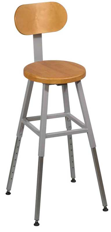 Balt Adjustable Height Lab Stool W Back Gray Frame