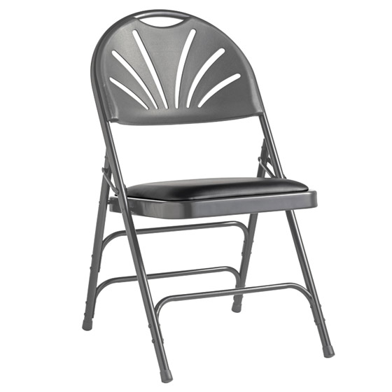 61425-1412-fanback-steel-folding-chair-with-bonded-leather-memory-foam-padded-seat-clearance-black-gray