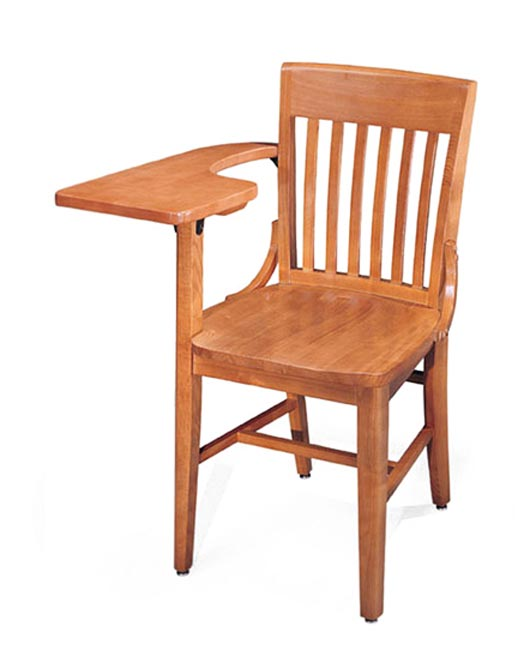 community americana solid oak tablet arm chair 309a wooden