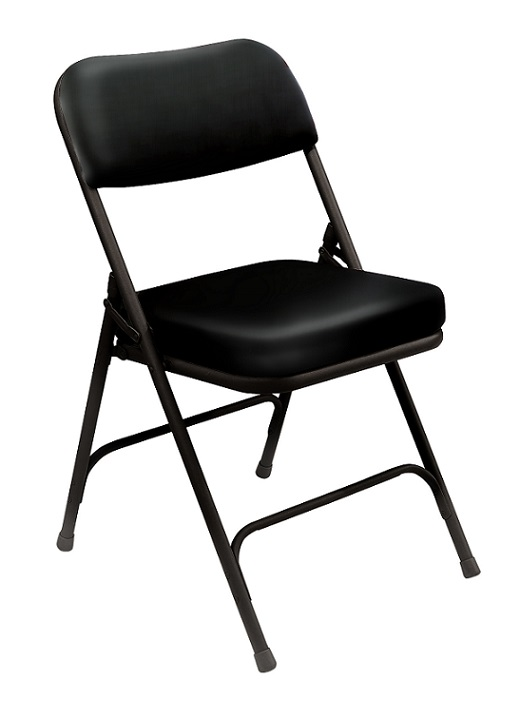 National Public Seating Padded Folding Chair Black Vinyl Black Frame