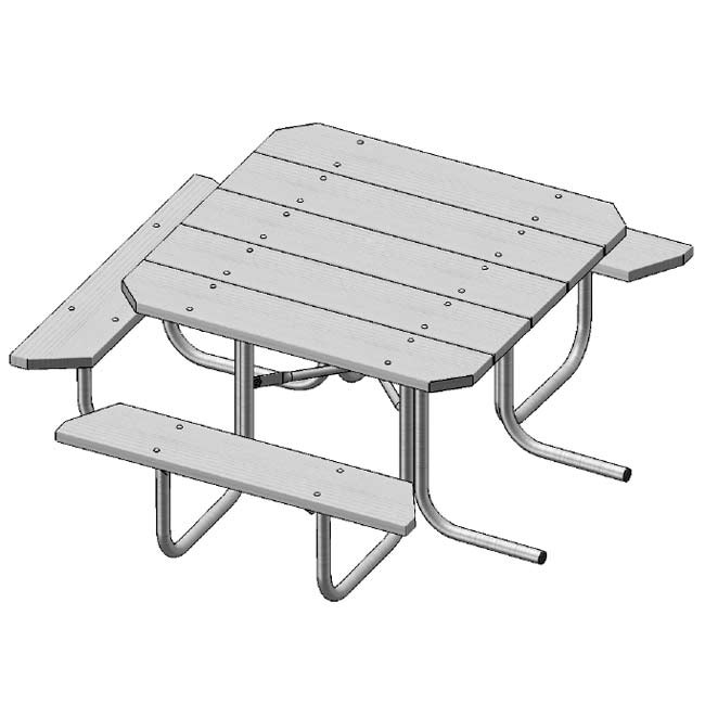 Ultraplay Square Traditional Picnic Table Pressure Treated - Square picnic table with benches