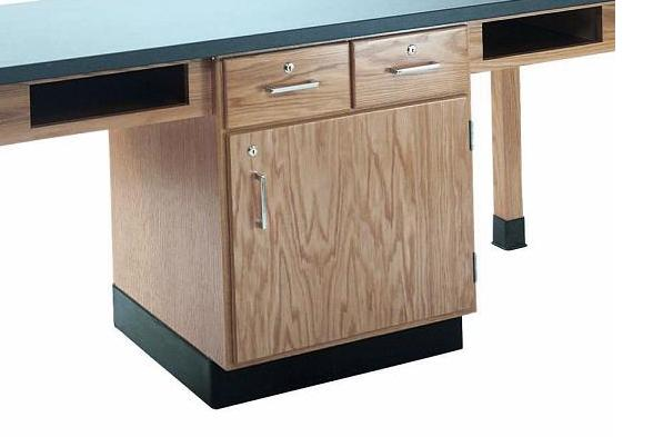 c2404k-fourstudent-science-table-w-4-book-compartments-phenolic-resin-top-w-doors-drawers