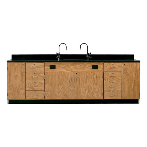 3234k-wall-service-bench-w-storage-cabinets-eight-drawers-phenolic-resin-top