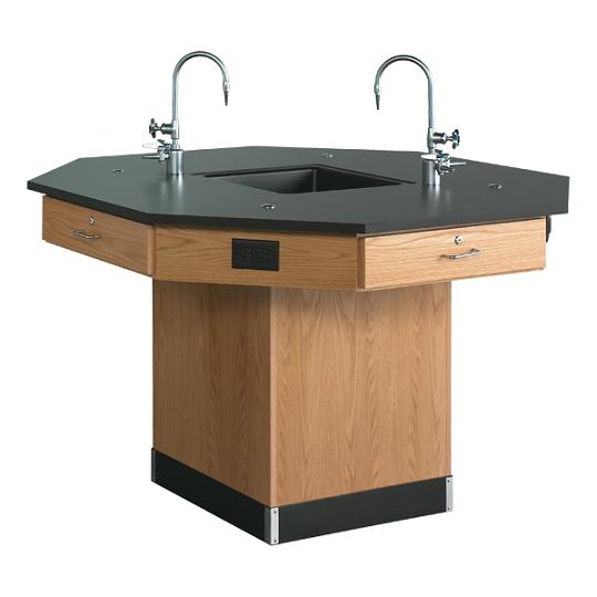 1516k-octagon-lab-workstation-pedestal-base-w-sink-54-diameter