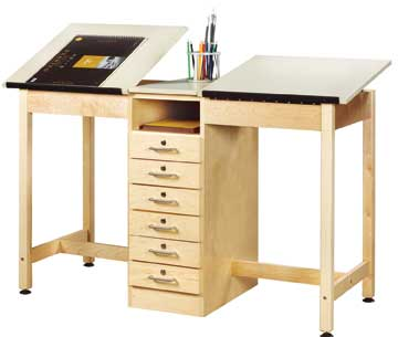 All Two Station Drafting Table W Drawer Base By Shain