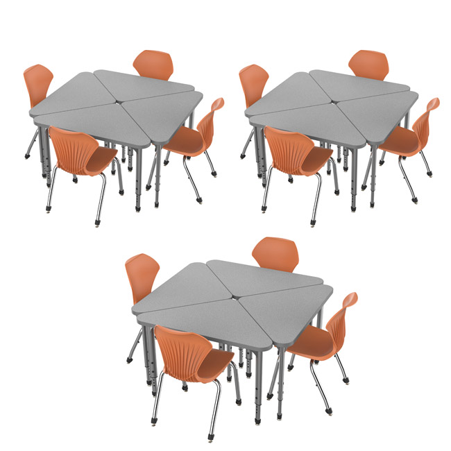 38372-12-apex-triangle-desks-12-stack-chairs-18-pumpkin-spice-closeout