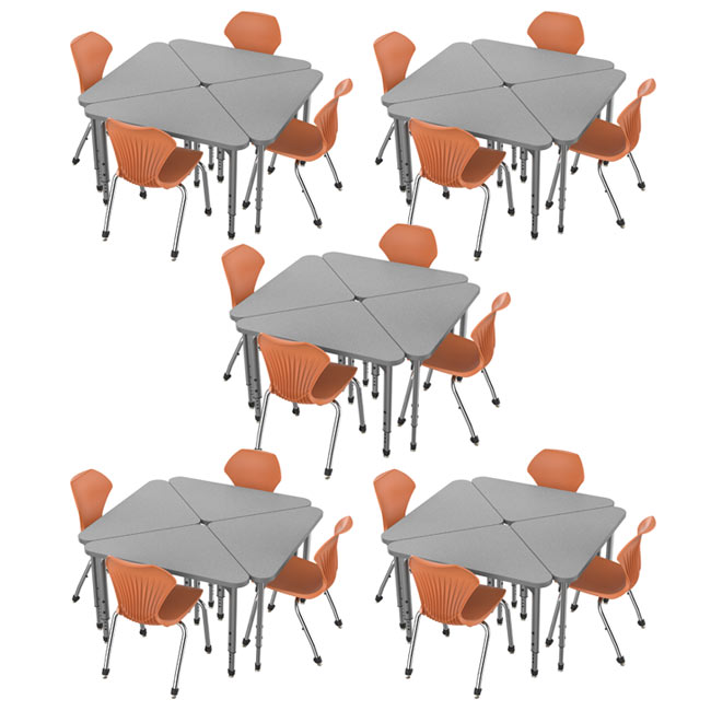 38372-20-apex-triangle-desks-20-stack-chairs-14-pumpkin-spice-closeout