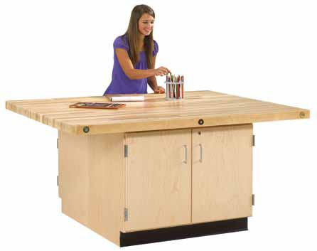 Makerspace Workbench with Cabinet