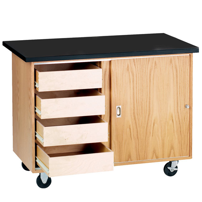 Diversified Woodcrafts Mobile Demo Table With Drawers W