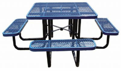 Ultraplay Square Expanded Metal Outdoor Picnic Table V - Square picnic table with benches