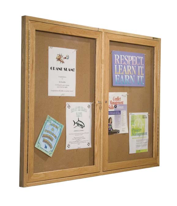 94hwc-36h-x-48w-bestrite-enclosed-bulletin-board-cabinet-with-2-hinged-doors