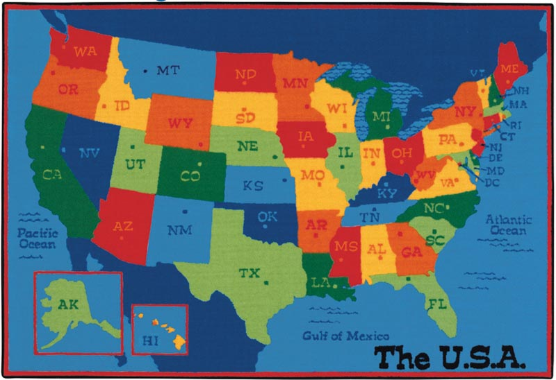 Carpets For Kids Usa Map Value Rug 4 X 6 4895 Maps
