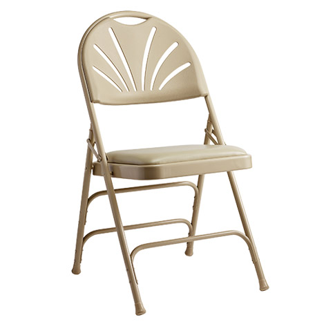 57310 Fanback Steel Folding Chair With Bonded Leather