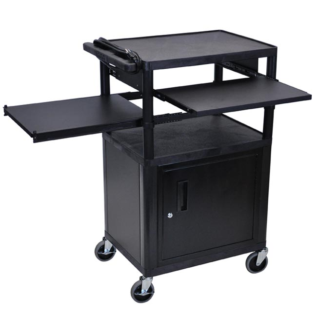 lp42clpe-threeshelf-plastic-av-cart-w-cabinet-electric-front-side-shelf-42-h