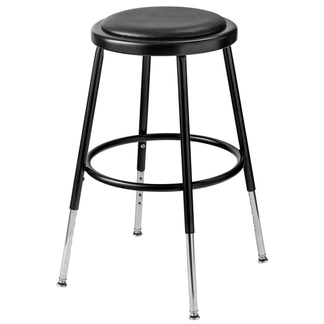 6418h-10-black-padded-steel-stool-adjustable-19-  sc 1 st  Worthington Direct & National Public Seating Black Adjustable 19