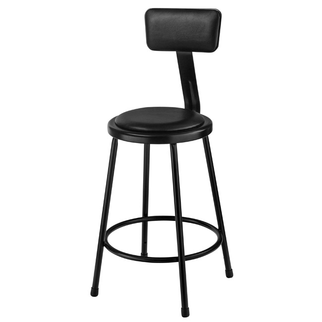 National Public Seating Black 24 Quot H Padded Steel Stool