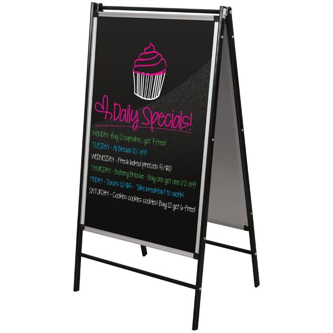 Black Restaurant Dry Erase Display Easel by Best-Rite