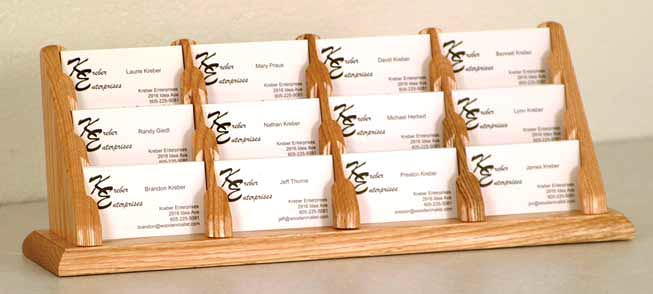 bcc412-12-pocket-oak-business-card-rack