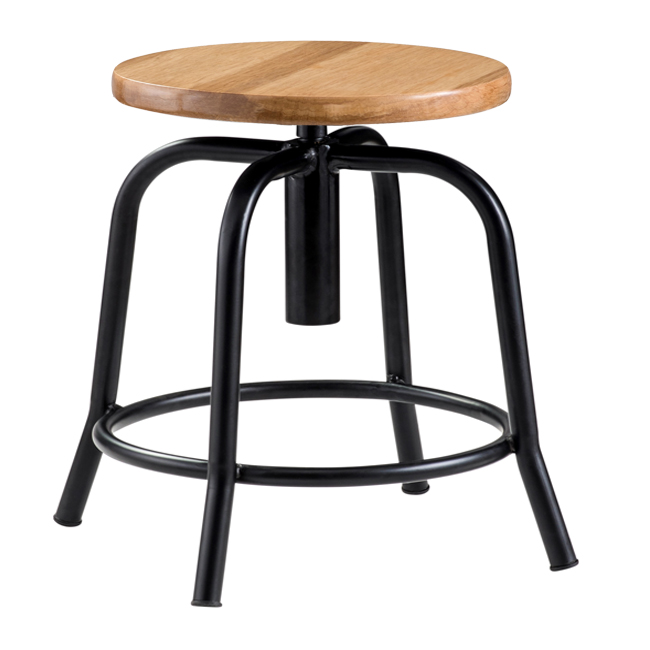 National Public Seating Adjustable Swivel Stool Wood Seat