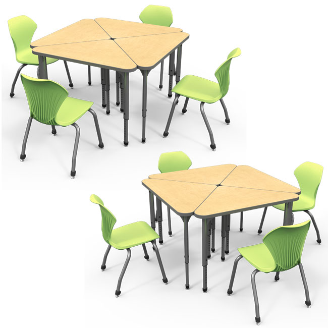 38372 Classroom Set 8 Apex Triangle Student Desks