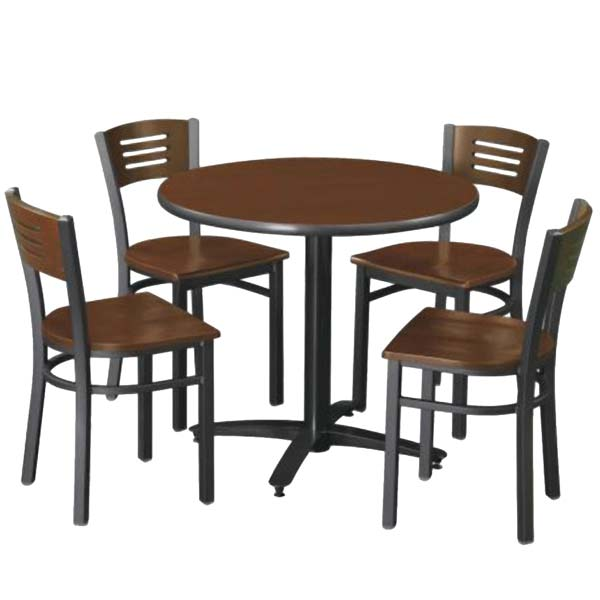 Arched Base Cafe Table with Four Cafe Chairs by KFI