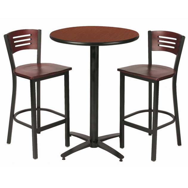 Kfi Seating Arched Base Bar Height Cafe Table With Two Brb - Round metal cafe table