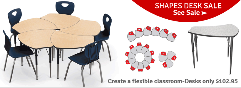 Save on collaborative Shapes Desks from Balt Now!