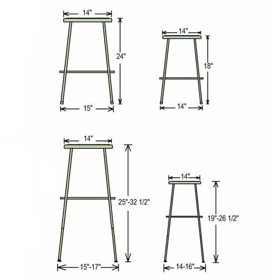 Kitchen island size for 4 stools - 24 Quot H 6224 10 Lab Stools And Science Stools Worthington Direct
