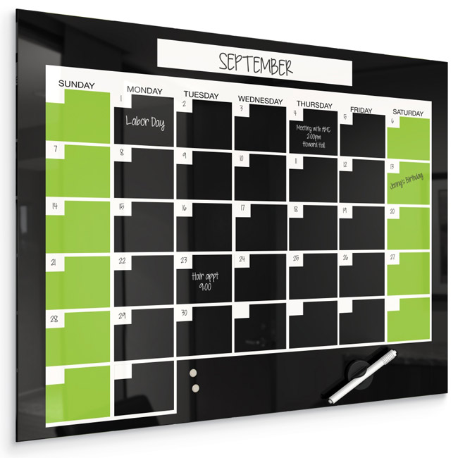 glass dry erase board calendar black magnetic render rite diy clear quartet infinity