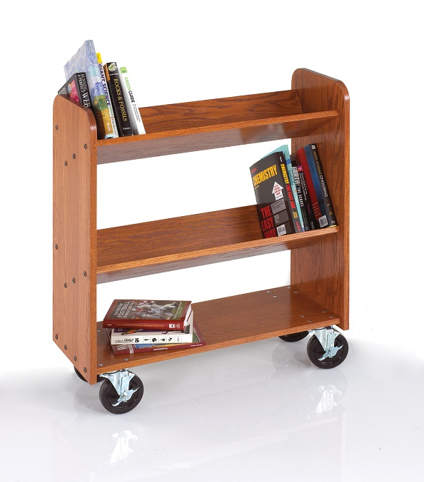 bt011-solid-oak-book-truck-2-sloped-1-flat-shelf