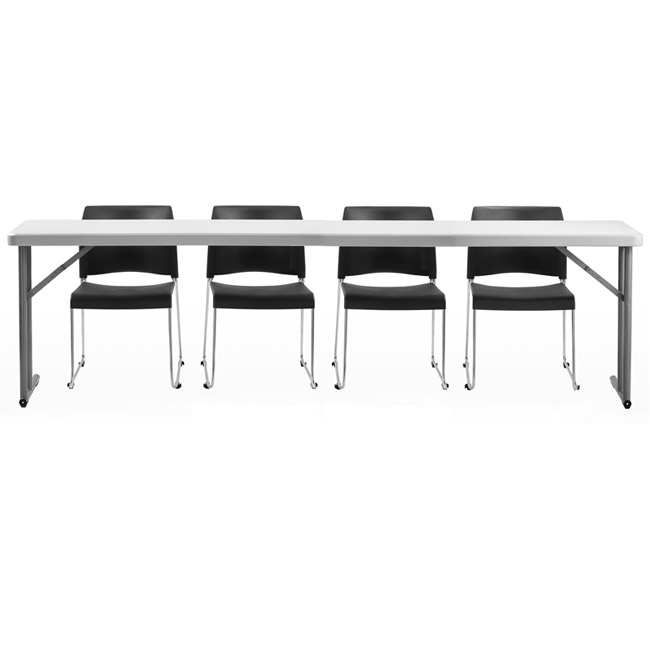 8704-3-bt1896-x-plastic-resin-seminar-folding-table-18-x-96-with-four-sled-base-vinyl-seat-stack-chairs