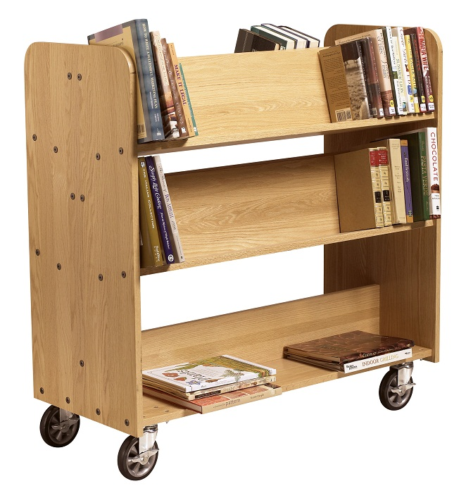 bt311-solid-oak-book-truck-4-sloped-1-flat-shelf