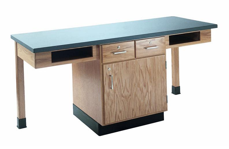 c2202k-twostudent-science-table-w-2-book-compartments-chemguard-top-w-door-drawers